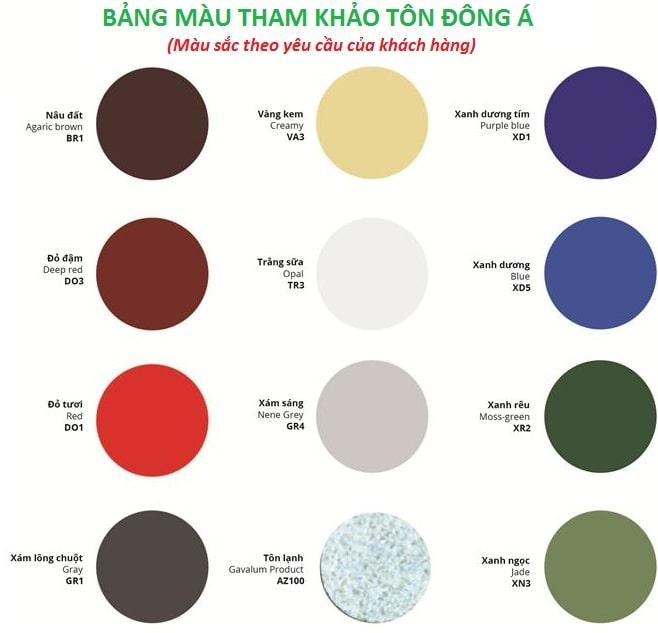 Bảng giá tôn Đông Á 2021 – Tôn Màu