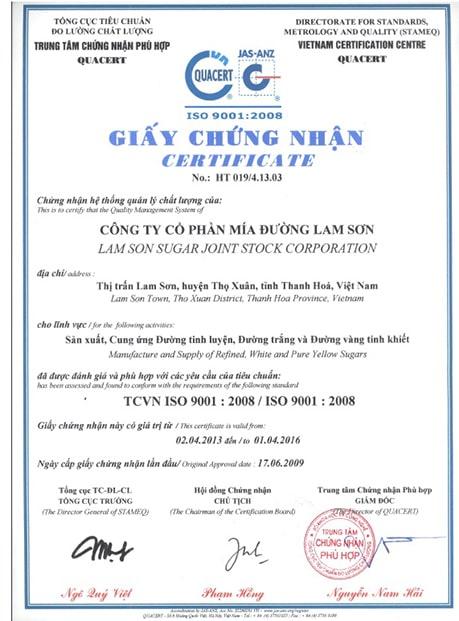 Giấy chứng nhận Certificate of Quality